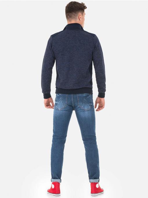Мъжки пуловер с цип MCL 28858 - тъмно син