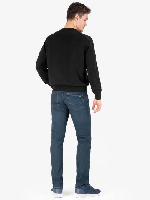 Мъжки пуловер с овално деколте  - черен 2001 INDIGO Fashion