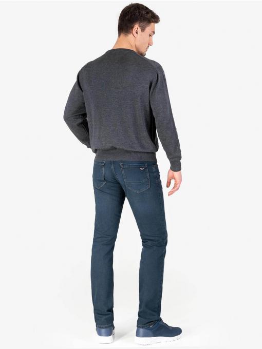 Мъжки пуловер с обло деколте - тъмно сив 2001 INDIGO Fashion