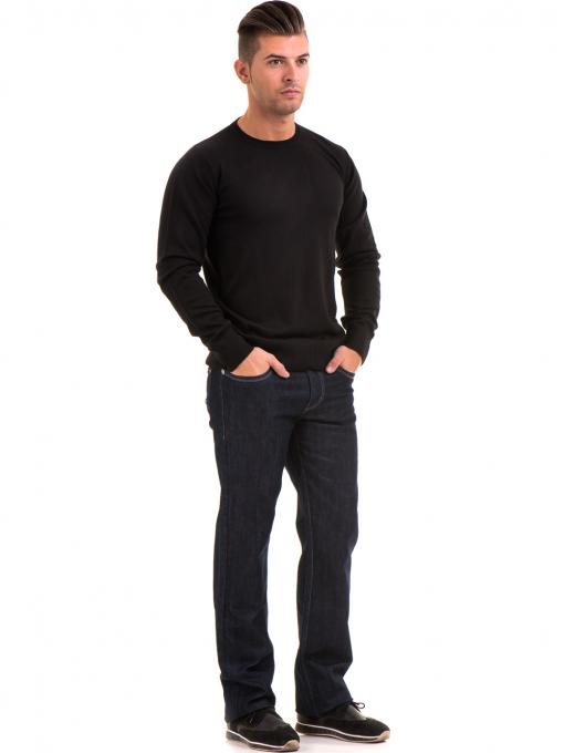Класически мъжки дънки LACARINO 1885 с колан - тъмен деним C2