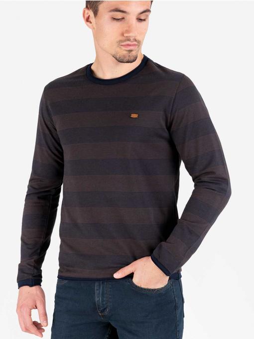 Мъжки кафяв памучен пуловер 024 INDIGO Fashion
