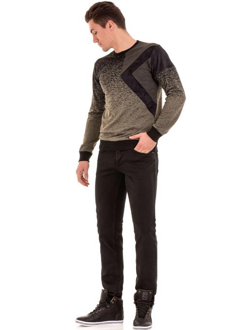 Мъжки класически дънки LACARINO с колан 4727 - тъмен деним C6