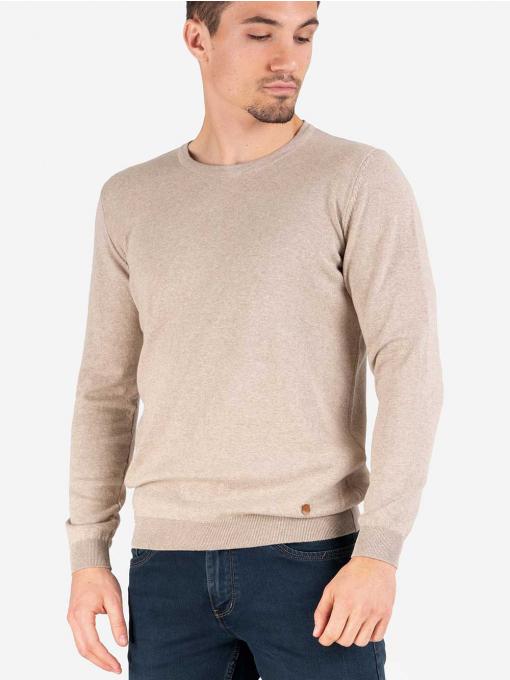 Мъжки пуловер с обло бие - светло бежов 204 INDIGO Fashion