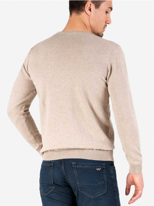 Мъжки пуловер с обло бие - светло бежов INDIGO Fashion