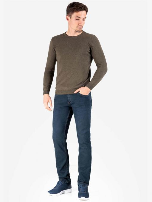 Мъжки пуловер обло бие- цвят каки 204 INDIGO Fashion