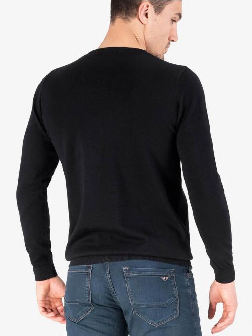 Мъжки пуловер с обло бие - черен 204 INDIGO Fashion
