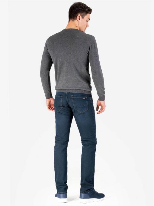 Мъжки пуловер с обло бие - сив 204 INDIGO Fashion