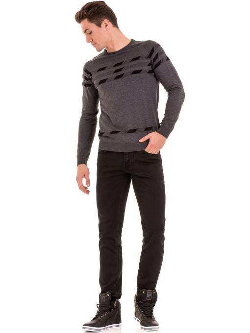 Мъжки класически дънки LACARINO с колан 4727 - тъмен деним C4