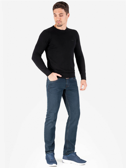 Мъжки черен пуловер с бродирано лого 468 INDIGO Fashion