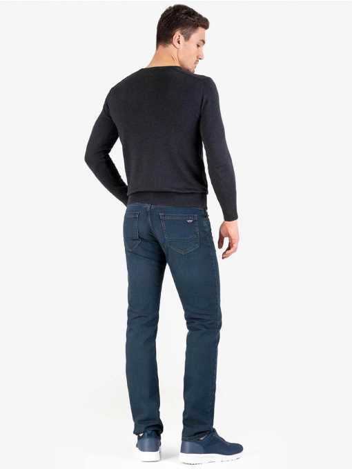 Мъжки тъмносив пуловер с бродирано лого 468 INDIGO Fashion