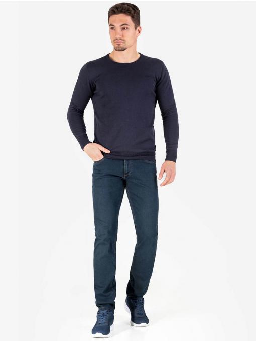 Мъжки тъмносин пуловер с бродирано лого 468 INDIGO Fashion
