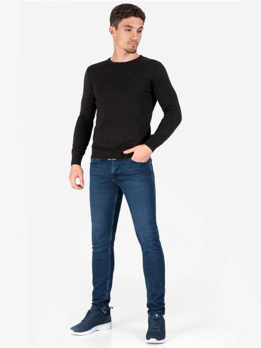 Мъжки кафяв пуловер с бродирано лого 468 INDIGO Fashion