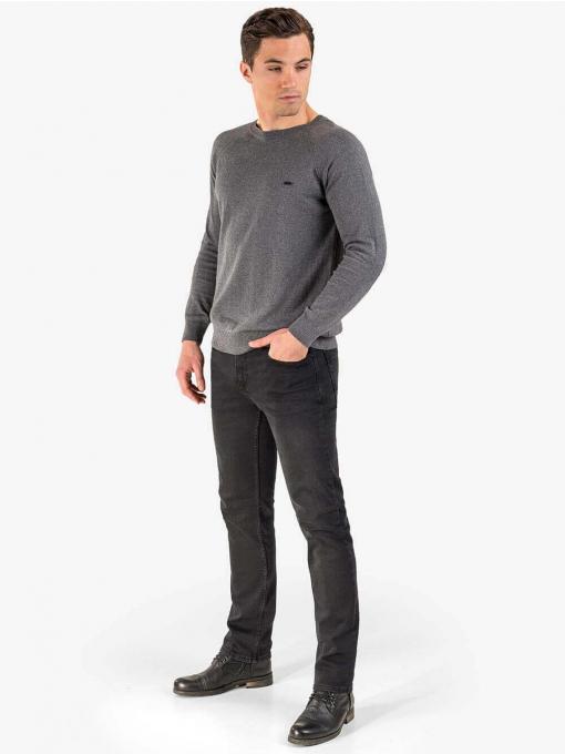 Едноцветен памучен мъжки пуловер - сив 927 INDIGO Fashion