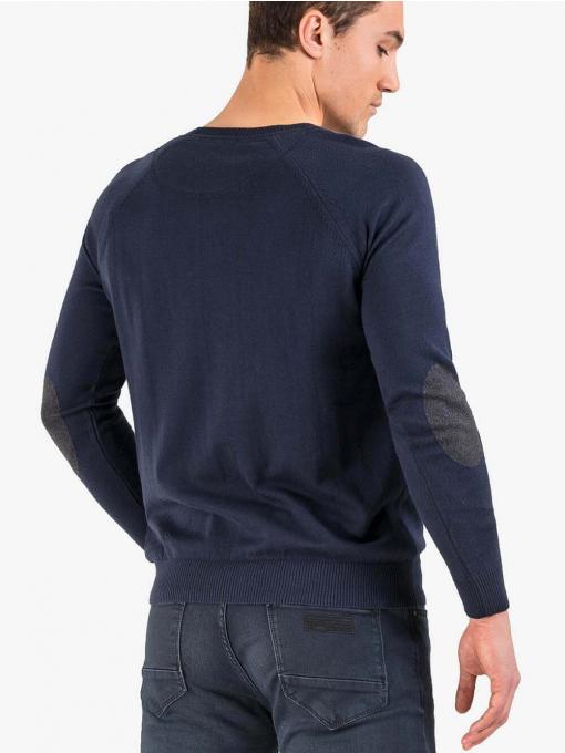 Едноцветен памучен мъжки пуловер - тъмносин 927 INDIGO Fashion