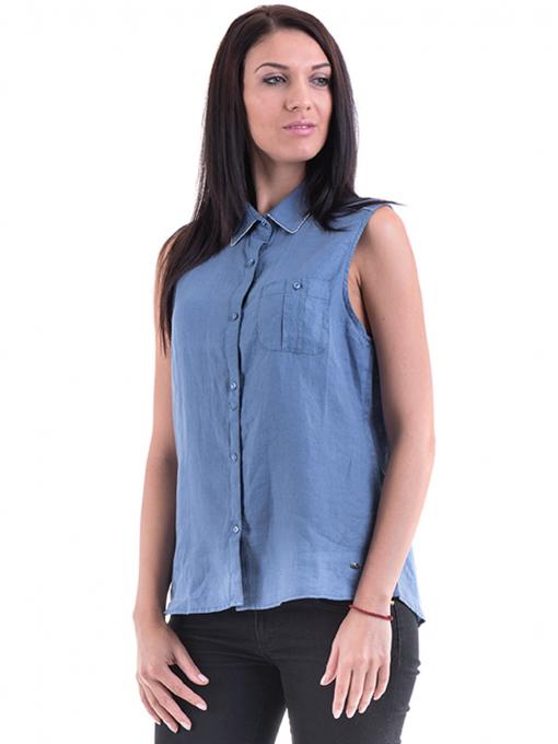 Дамска ленена риза XINT 287 - синя