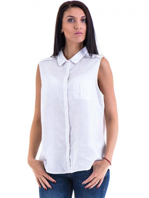 Дамска ленена риза XINT 287 - бяла