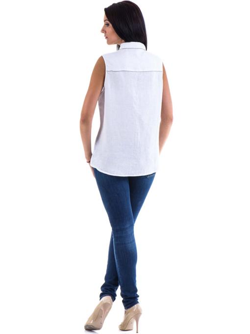 Дамска ленена риза XINT 287 - бяла E