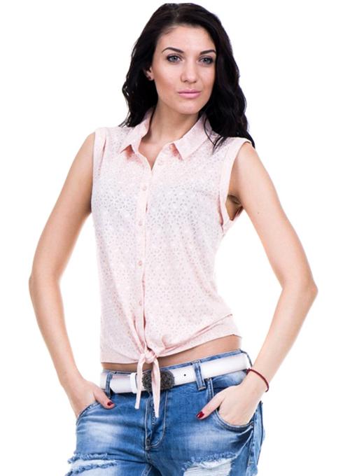 Дамска риза XINT със завързване отпред 749 - цвят праскова C
