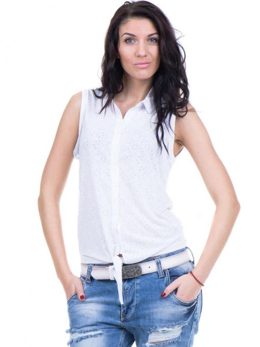 Дамска риза XINT със завързване отпред 749 - бяла