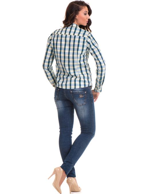 Карирана памучна дамска риза RIV/SD 20097 - зелена E