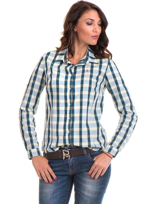 Карирана памучна дамска риза RIV/SD 20097 - зелена