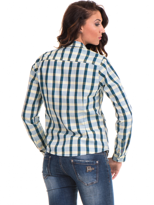 Карирана памучна дамска риза RIV/SD 20097 - зелена B