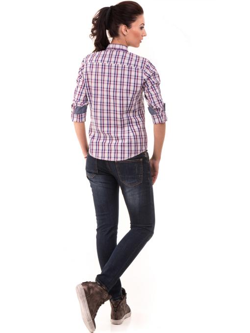 Вталена памучна дамска риза RIV/SD 20107 - лилава E