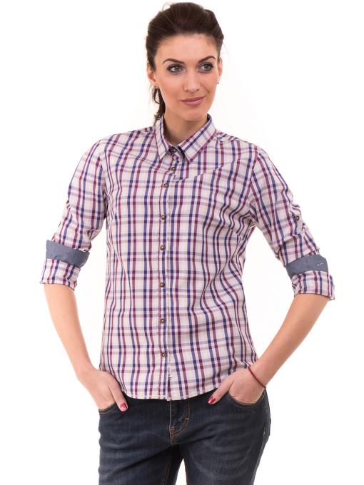 Вталена памучна дамска риза RIV/SD 20107 - лилава
