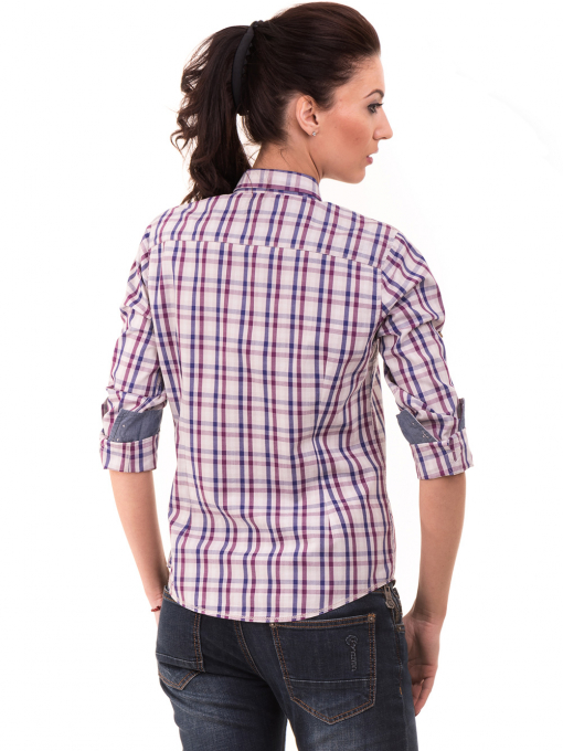 Вталена памучна дамска риза RIV/SD 20107 - лилава B