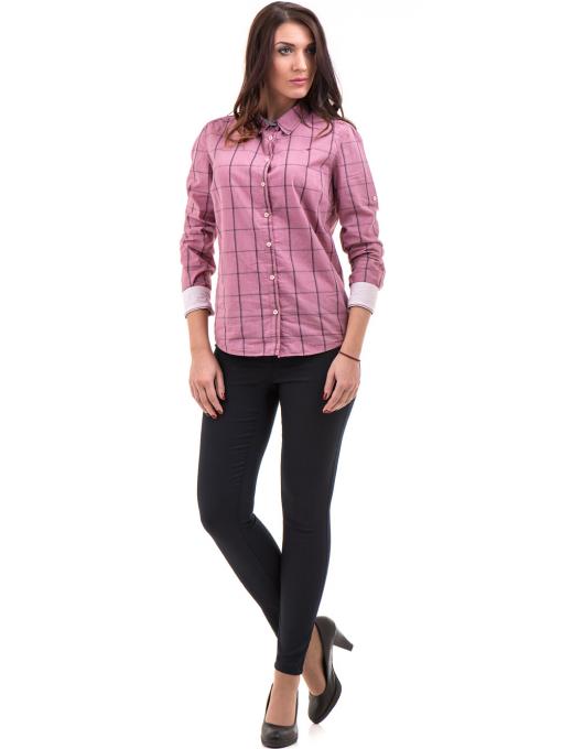 Памучна дамска риза RIV/SD вталена 20110 - тъмно розова C