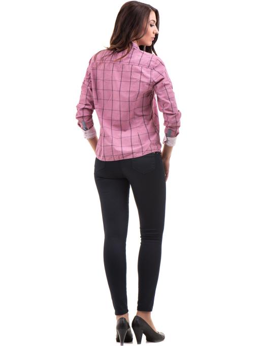 Памучна дамска риза RIV/SD вталена 20110 - тъмно розова E
