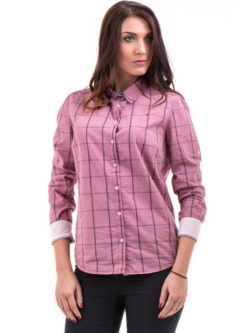 Памучна дамска риза RIV/SD вталена 20110 - тъмно розова