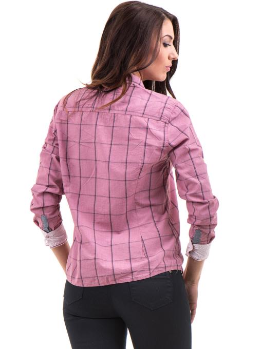 Памучна дамска риза RIV/SD вталена 20110 - тъмно розова B