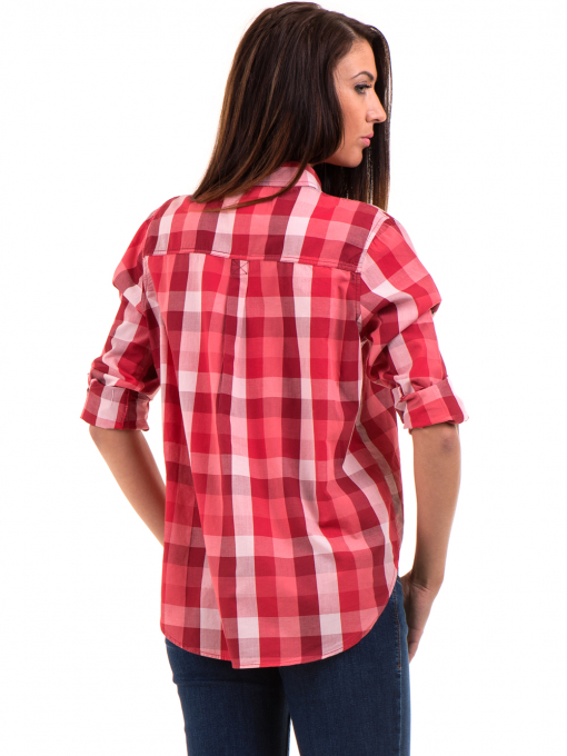 Широка карирана дамска риза RIV/SD 20116 - цвят корал B