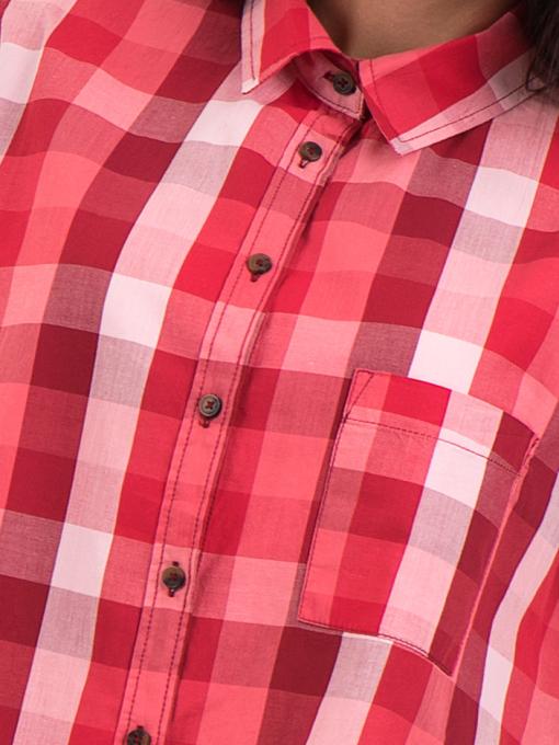 Широка карирана дамска риза RIV/SD 20116 - цвят корал D