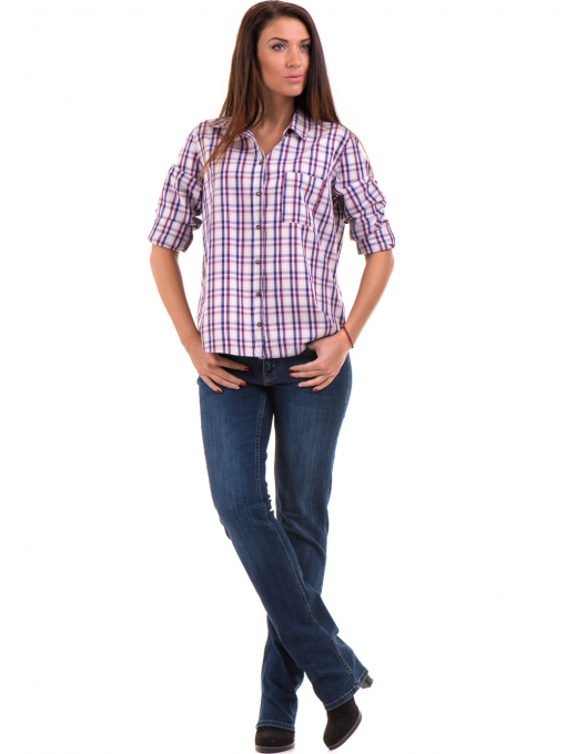 Свободна карирана дамска риза RIV/SD 20120 - лилава C