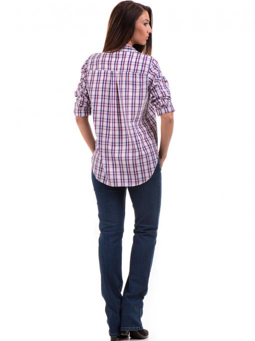 Свободна карирана дамска риза RIV/SD 20120 - лилава E