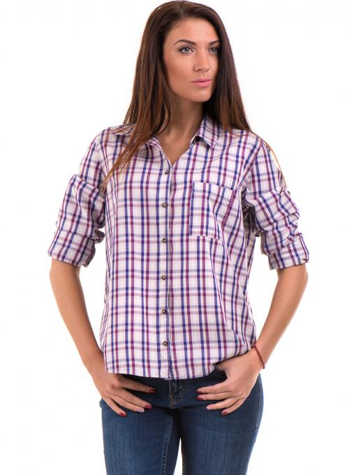 Свободна карирана дамска риза RIV/SD 20120 - лилава