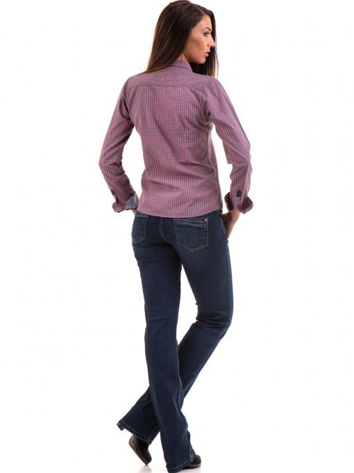 Карирана дамска риза RIV/SD вталена 20145 - тъмно розова E