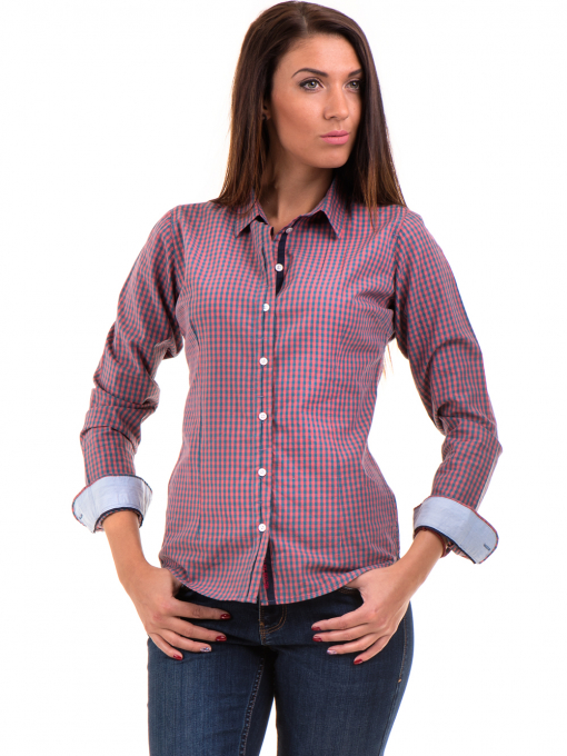 Карирана дамска риза RIV/SD вталена 20145 - тъмно розова