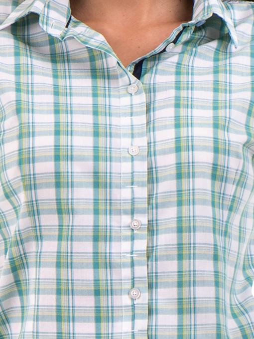 Вталена карирана дамска риза RIV/SD - зелена D