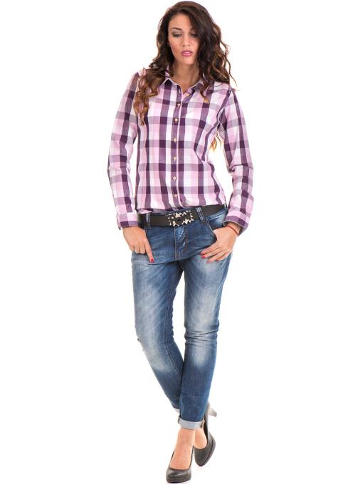 Памучна карирана дамска риза RIV/SD 20155 - лилава C