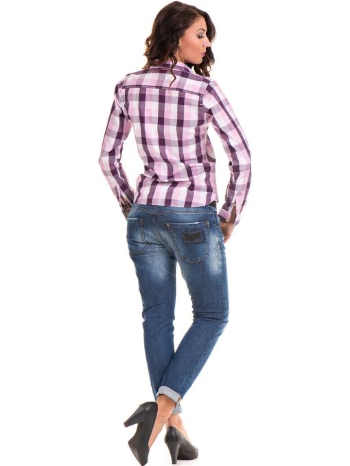 Памучна карирана дамска риза RIV/SD 20155 - лилава E