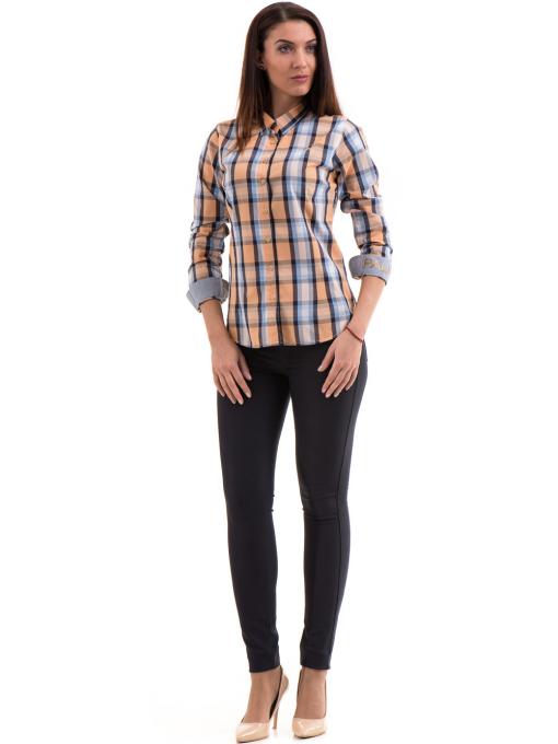 Памучна дамска риза RIV/SD в каре 20158 - оранжева C