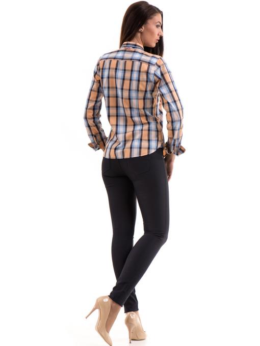 Памучна дамска риза RIV/SD в каре 20158 - оранжева E