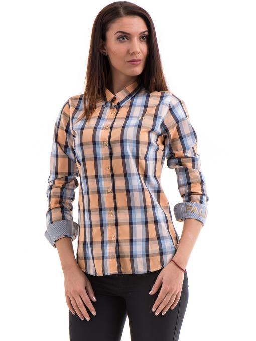 Памучна дамска риза RIV/SD в каре 20158 - оранжева