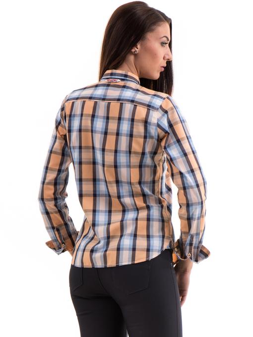 Памучна дамска риза RIV/SD в каре 20158 - оранжева B