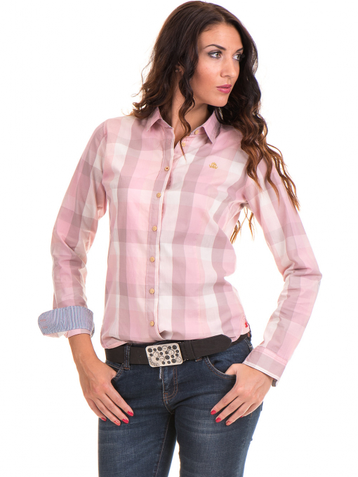 Карирана вталена дамска риза RIV/SD 20160 - светло розова