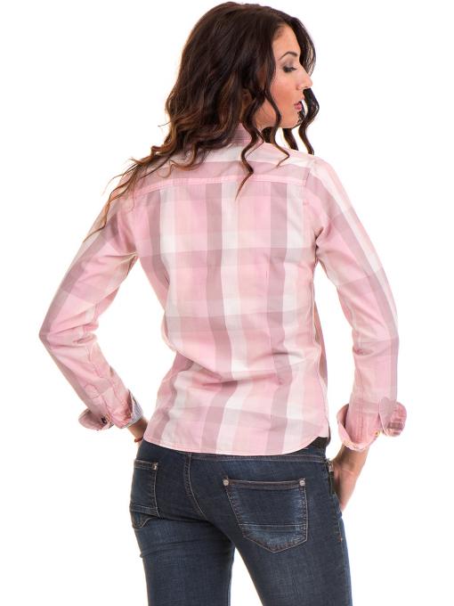 Карирана вталена дамска риза RIV/SD 20160 - светло розова B