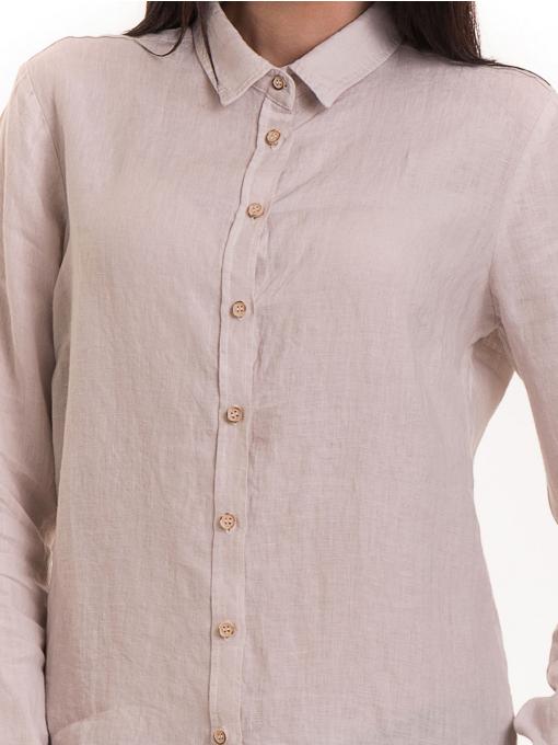 Ленена дамска риза XINT 456 - светло бежова D